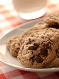 Biscuits de puce de chocolat pour le déjeuner Photographie stock libre de droits