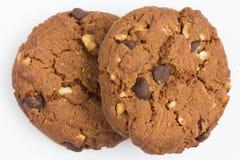 Biscuits de puce et d'écrou de chocolat Photographie stock