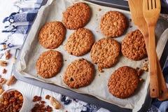 Biscuits de raisin sec et d'arachide de farine d'avoine, plan rapproché photographie stock libre de droits