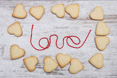 Biscuits de sucre en forme de coeur Photo stock