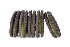 Biscuits de thé vert de Matcha sur le fond blanc Photographie stock libre de droits