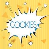 Biscuits des textes d'écriture Concept signifiant le petit gâteau augmenté de biscuit de dessert de casse-croûte délicieux doux d illustration libre de droits