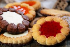 Biscuits with different fillings closeup. Royalty Free Stock Photo