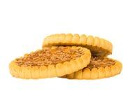 Biscuits empilés d'isolement sur le fond blanc Images libres de droits