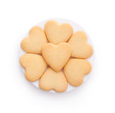 Biscuits en forme de coeur d'isolement sur le blanc Images stock