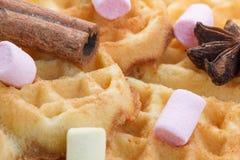 Biscuits en forme de coeur sur un fond en bois, avec de la cannelle, l'anis et la guimauve images stock