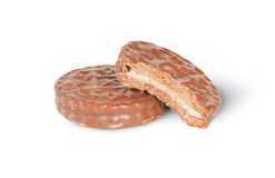 Biscuits entiers et mordus de chocolat Image stock