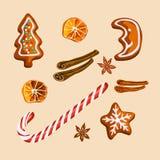 Biscuits et épices de pain d'épice de Noël d'isolement photographie stock libre de droits