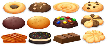 Biscuits et barre de chocolat illustration stock