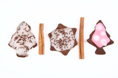 Biscuits et cannelle de Noël Image stock