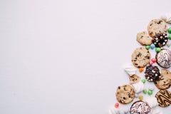 Biscuits et fond de sucrerie, conception de confiserie images stock