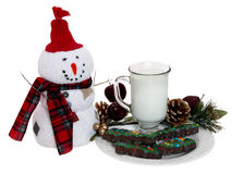 Biscuits et lait pour Santa Photo stock