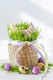 Biscuits et oeufs de Pâques avec l'herbe Photo stock