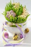 Biscuits et oeufs de Pâques avec l'herbe Photographie stock libre de droits