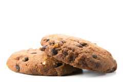 Biscuits faits maison avec de vrais morceaux de chocolat et de noisettes Photos stock
