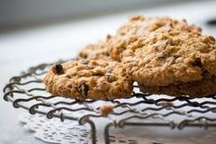 Biscuits faits maison caoutchouteux de farine d'avoine sur un support de refroidissement de fil Photo libre de droits