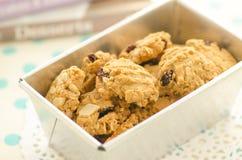 Biscuits faits maison dans le plateau Images stock
