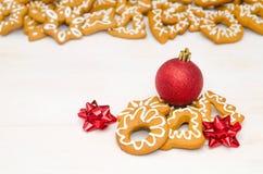 Biscuits faits maison de Noël Photographie stock libre de droits