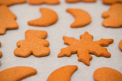 Biscuits faits maison de Noël de pain d'épice photo stock