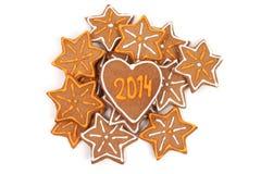 Biscuits faits maison de nouvelle année avec le nombre 2014. Image libre de droits