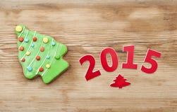 Biscuits faits maison de pain d'épice de Noël Photos stock