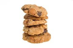 Biscuits faits maison de pâtisserie de chocolat d'isolement sur le fond blanc Image stock