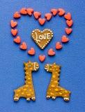 Biscuits faits maison sous forme de girafes de couples et grand drôles il Image stock