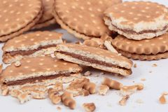 Biscuits filled with chocolate stock photo