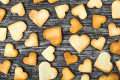 Biscuits in the form of hearts, top view Royalty Free Stock Images