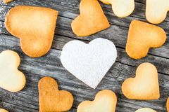 Biscuits in the form of hearts, top view Royalty Free Stock Image