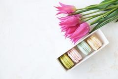 Biscuits français traditionnels de dessert de macarons de canneberge de fraise de myrtille avec la belle disposition de fleurs su images stock