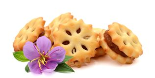 Biscuits. Freshly baked homemade biscuits with raisins on white background stock image