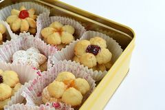 Biscuits with fruit jam royalty free stock image