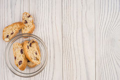 Biscuits in a glass bowl on the old wooden table. Royalty Free Stock Photos