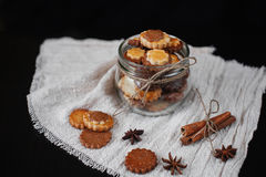 Biscuits in glass jar royalty free stock image