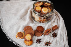 Biscuits in glass jar Stock Photos