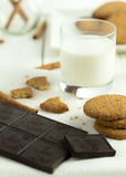 Biscuits with glass of milk. Royalty Free Stock Images