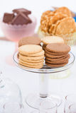 Biscuits on glass tray Royalty Free Stock Photography