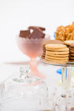 Biscuits on glass tray Royalty Free Stock Photo