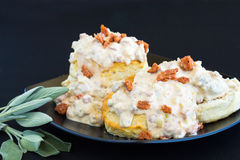 Biscuits And Gravy. Made with sage sausage and Portuguese sausage Royalty Free Stock Images