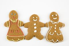 Biscuits heureux de pain d'épice. Photos libres de droits