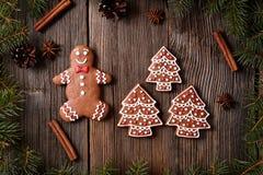 Biscuits homme de pain d'épice de Noël et arbres de fourrure Images stock