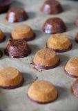 Biscuits indiens de farine de pois chiche de Laddu avec la caroube et le chocolat Photographie stock libre de droits
