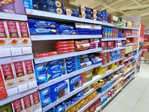 Biscuits Isle of a Supermarket royalty free stock image