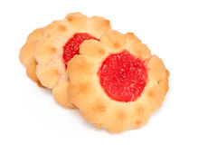 Biscuits with jam. Tasty, crumbly sweet pastry with fruit jam Royalty Free Stock Images