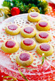 Biscuits with jam for Christmas. With serpentine Royalty Free Stock Photo