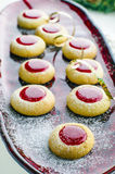 Biscuits with jam for Christmas. With serpentine Stock Photos