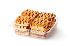 Biscuits with jam fillings in retail package Stock Images