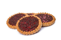 Biscuits with jam isolated Stock Photo
