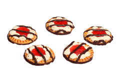Biscuits with jelly and chocolate Royalty Free Stock Photography
